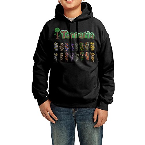 Basketball Costume Design (YHTY Youth Boys/Girls Sweatshirt Terraria Concept And Pixel Art Black Size L)