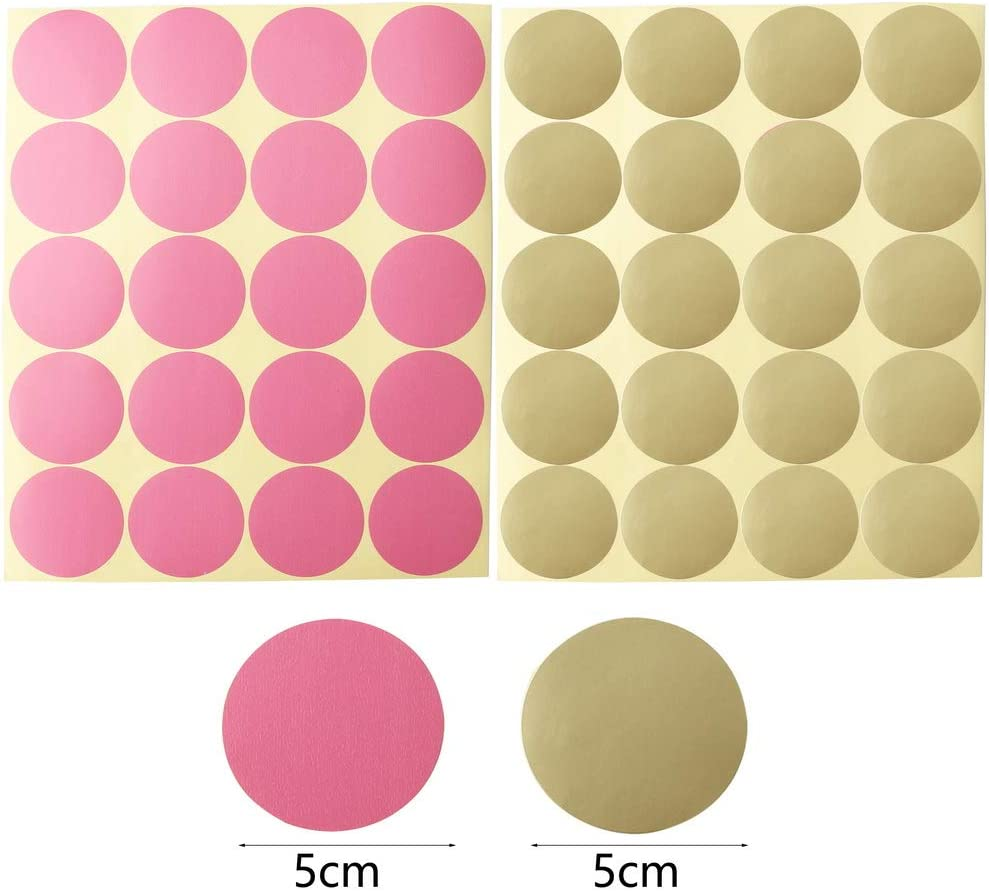 5cm Round Wall Stickers Removable Dot Sticker Lovely Round Wall Decal Stickers Pink and Gold Room Round Sticker Wall Decal Dots for Nursery//Baby Room//Play Room nuoshen 200 Pieces Round Wall Stickers