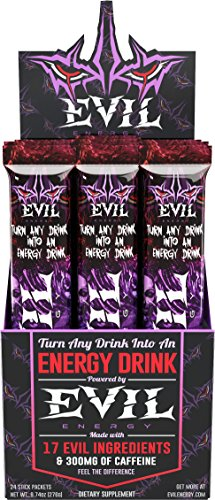Evil Energy - Turn Any Drink Into An Energy Drink For Long Lasting Natural All Day Sugarfree Energy, Alertness and Monster Focus With 300 Milligrams of Caffeine, Vitamins and 17 Gluten-Free Superfoods