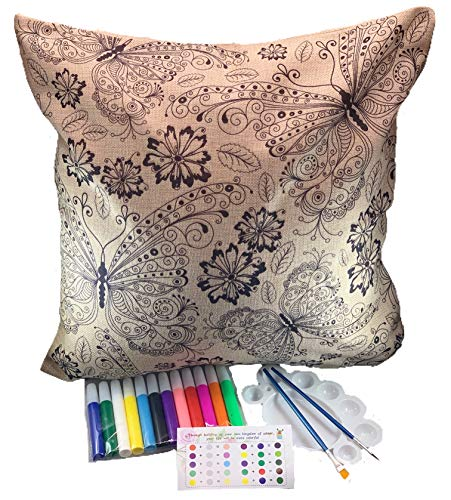 DIY Cute Pillow Cover Coloring Kit - Arts And Crafts For Kids, Adults And Toddlers - 18x18 Decorative Cushion Cover Painting Kit - Cool Home Decoration Or Kids Room Dec (Butterflies & Flowers)]()