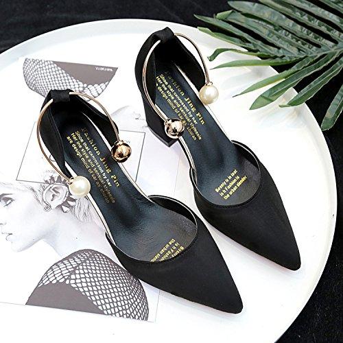 Fentes Creux Avec Chaussures Boucle Sandales Heel Mat Femme EU36 Épais High Baotou À Embout SHOESHAOGE qRBwn1gx