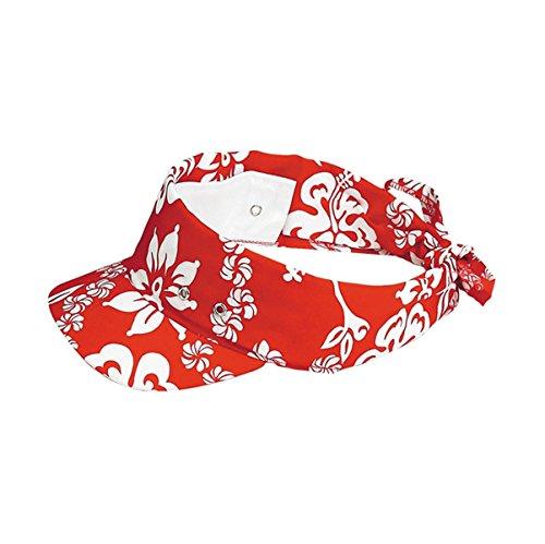 Hats & Caps Shop Hawaiian Flower Print Visor/Kerchief - By TheTargetBuys | (RED) (Hawaiian Print Sun Hat)