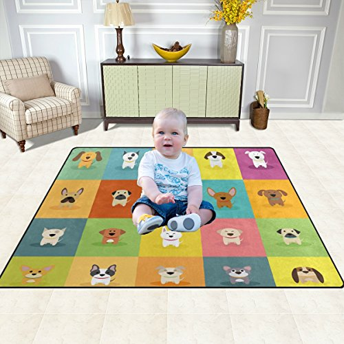 Cute Cartoon Dogs Kids Children Play Mat Soft Non-Slip Baby Toddlers Floor Game Area Rug Machine Washable 4'10'' x 6'8''