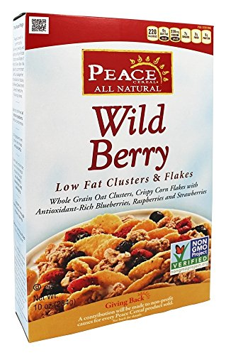 Peace Cereal - Low Fat Clusters & Flakes All Natural Wild Berry - 10 oz.(pack of 2)