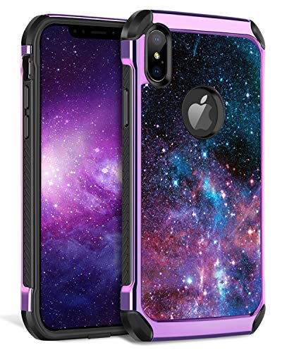 BENTOBEN iPhone Xs Max Case,Cute Galaxy Space Stars Pattern Slim 2 in 1 Hybrid Soft TPU Bumper Hard PC Cover with PU Faux Leather Rugged Shock Absorption Protective Phone Case Cover for iPhone Xs Max