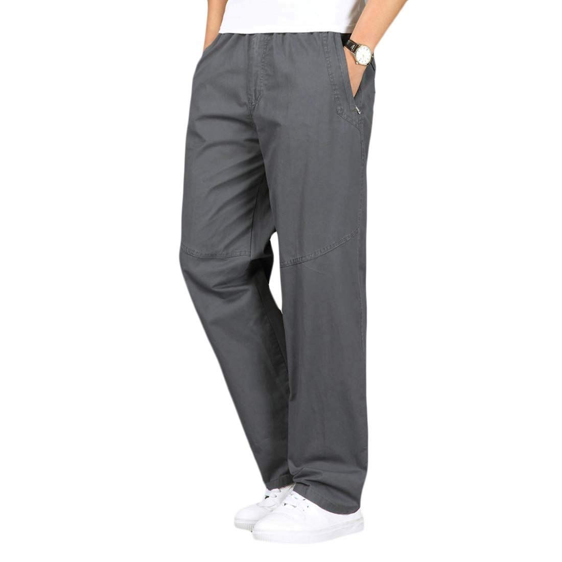 JXG Men Casual Elastic Waist Solid Plus Size Straight Leg Cotton Pants Trousers
