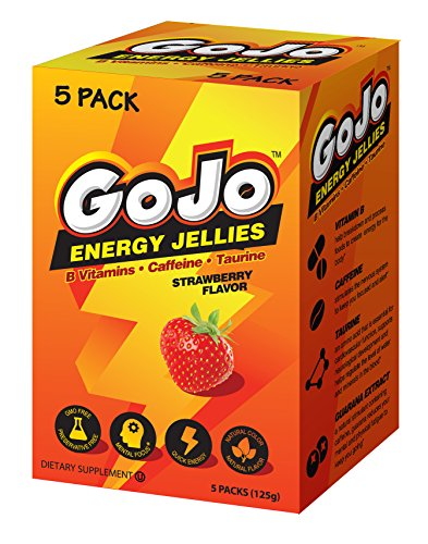 GoJo Energy Chews, with B Vitamins, Caffeine, Taurine, Strawberry Flavor, Gummies for Energy and focus you need to make it through your day. 5 Pack