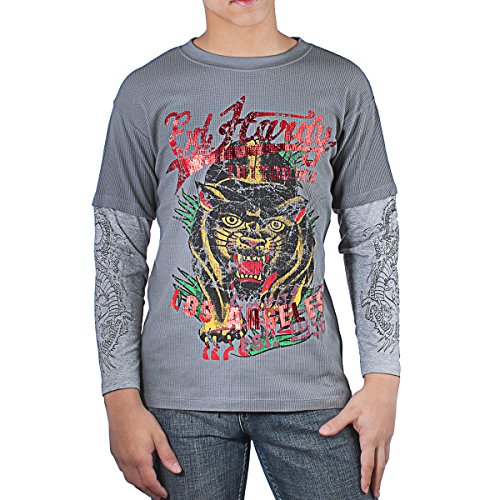 Ed Hardy Kids Panther Thermal Long Sleeve T-Shirt -Grey - X-Large