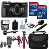 Canon Powershot G7 X Mark II (Black) HS Point and Shoot Digital Camera, W/ Case + 64GB Memory + Flash + Tripod + Case + Cleaning Kit + More – International Model