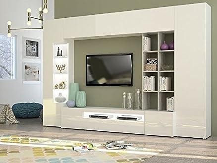 Parigi composizione soggiorno made in Italy Bianco e cemento ...