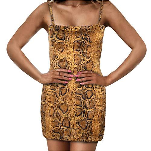 (Oufenli Women Sleeveless Dresses Leopard Sling Bodycon Sheath Pencil Midi Dresses Mini Sundress for Working/Club Coffee)
