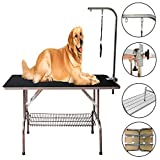 Reliancer 3 Size Large Heavy Duty Foldable Pet Grooming Table Professional Dog Cat Show w/Adjustable Arm &Noose & Mesh Tray Maximum Capacity Up to 330lbs (47.5'X 23.6'')