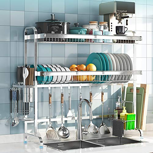 LoveHouse Dish Rack Over Sink, Stainless Steel Dish Drainer Shelf Large Dish Drying Rack with Utensil Holder Kitchen Supplies Storage Shelf-Silver 2-Tier 89cm(35inch)