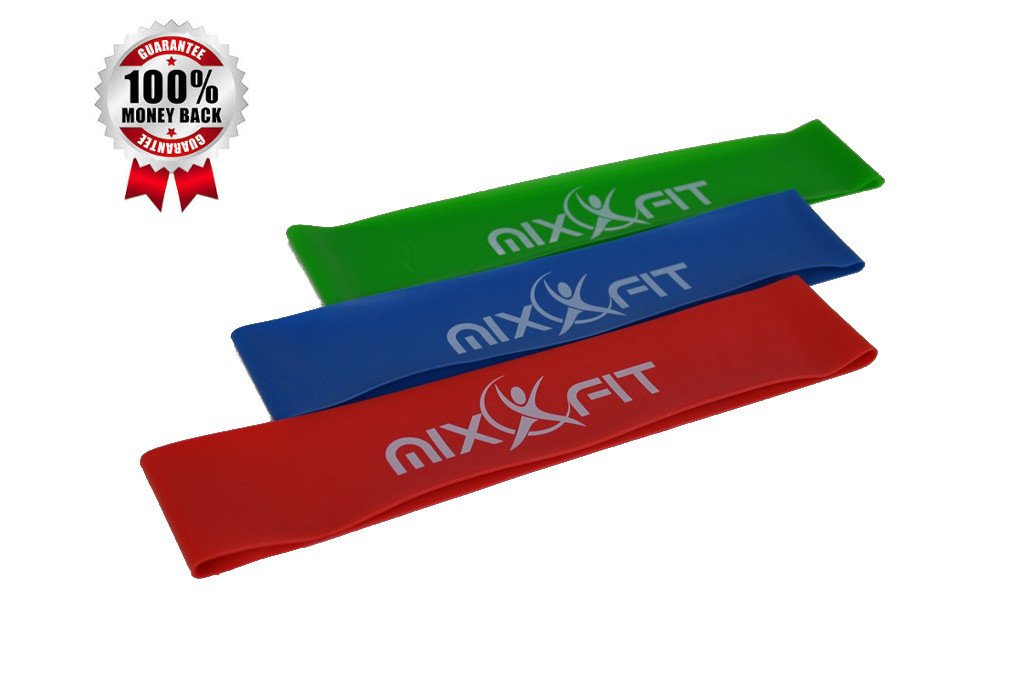 Mixxfit Resistance Bands - Flat Loop Training Exercise Bands. 3 Piece Set in Light, Medium and Heavy Resistant Levels. Home Training and Therapy/rehab Workouts. Great for Yoga and Pilates. Workout Pamphlet and Carrying Bag Included (10'' X 2'') *** Lifetime