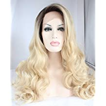 Tsnomore Ombre Blond Hot Wavy Long Synthetic Lace Front Wigs
