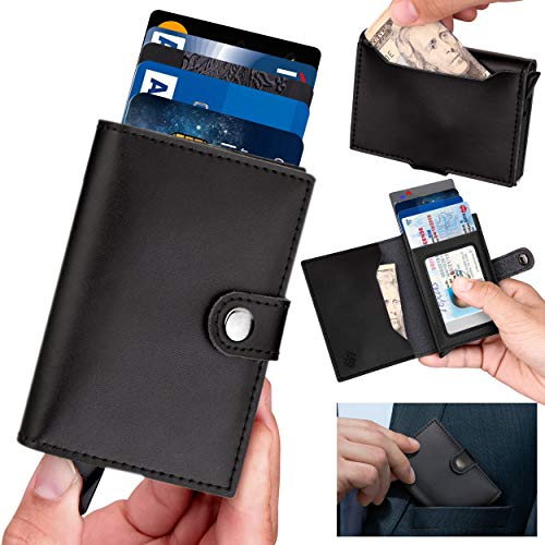 Wallets for Men - [ID Theft Protection Series] Premium Genuine Leather Slim Minimalist RFID Wallet with Credit Card Holder, ID Card Pocket and Additional Pockets for Cash