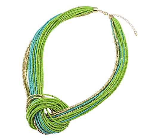 Bocar Green Seed Beads Multilayer Chunky Bib Statement Knot Necklace (NK-10316-Greenery) by Bocar