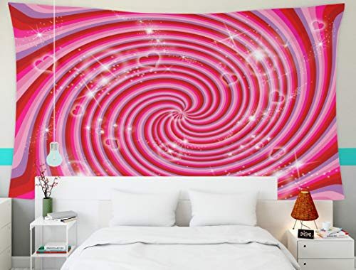 Crannel Tapestry Wall Hanging, Red Pink Purple Abstract Striped Swirl Stars Hearts Bursting from Tapestry 60X50 Inches Wall Art Tapestries Hanging for Dorm Room Living Home Decorative