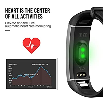 Fitness Tracker, EIVOTOR Activity Tracker with Wrist-Based Heart Rate Monitor, Water Resistant Smart Band with Step Tracker Sleep Monitor Calorie Counter Notification Alerts for Android iOS Smartphone