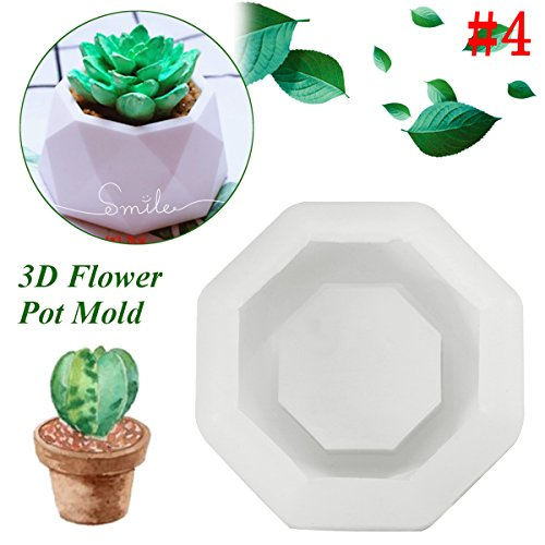 Diamond Shaped Surface Succulent Plant Flower Pot Soap Bottle Mold Silicone Mold DIY Ashtray Candle Holder Mould 8 x 8 x 4cm