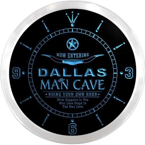 (ncpb0421-b DALLAS Man Cave Cowboys Beer Bar Pub LED Neon Sign Wall Clock)