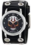 Nemesis Men's EB924K Punk Rock Collection Black Angry Skull Leather Band Watch
