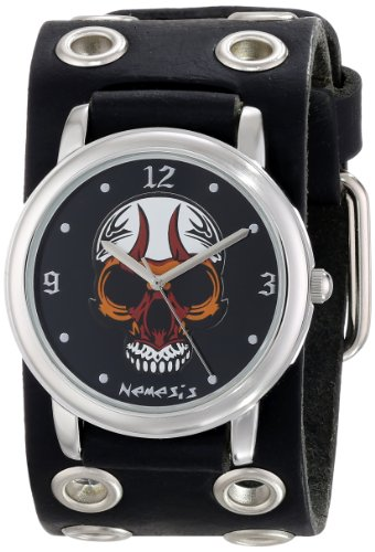 Nemesis Men's EB924K Punk Rock Collection Black Angry Skull Leather Band Watch (Watch Band Skull Leather)