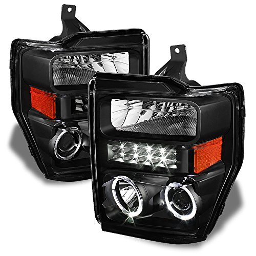 ACANII - For Black 2008-2010 Ford F250 F350 Superduty LED Halo Projector Headlights Headlamps Driver + Passenger ()