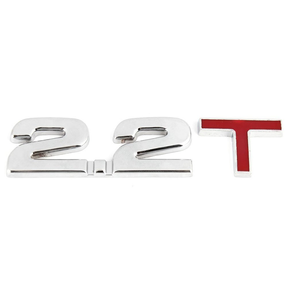 SODIAL(R) Alloy 2.2T Pattern 3D Auto Car Emblem Badge Sticker silver+red 119545