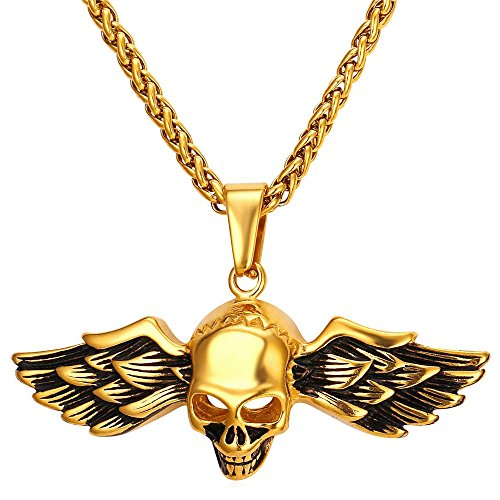 U7 18K Gold Plated Gothic Skull Demon Wing Pendant Cool Men Necklace ()