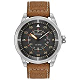 Citizen Eco-Drive Men's AW1361-10H Sport Stainless Steel Watch with Brown Leather B