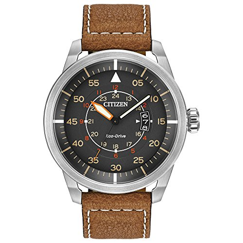 (Citizen Men's Eco-Drive Brown Leather Strap Watch with Date, AW1361-10H)