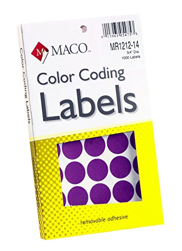 (MACO Purple Round Color Coding Labels, 3/4 Inches in Diameter, 1000 Per Box (MR1212-14))