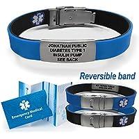 Sport/Slim Reversible Waterproof Medical Alert Bracelet. Incl. 9 lines engraving. - BLACK / BLUE