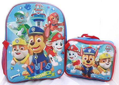 Boys Paw Patrol School Book bag Backpack Lunch Box Combo SET Blue -