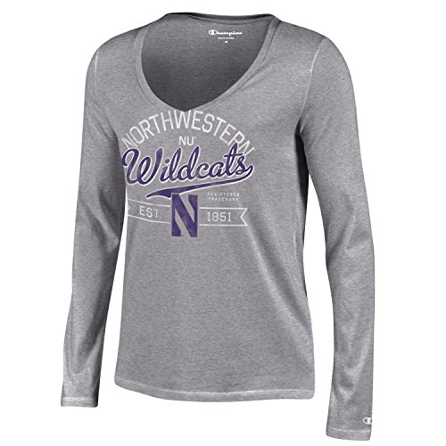 NCAA Northwestern Wildcats Women's Champion University Long sleeve V-Neck T-Shirt, Small, Gray