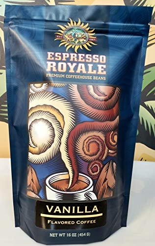 Espresso Royale Coffee, Vanilla Flavored whole beans,Medium Roast 16 Ounce Bag, Coffee Beans, 1lb Bag ()