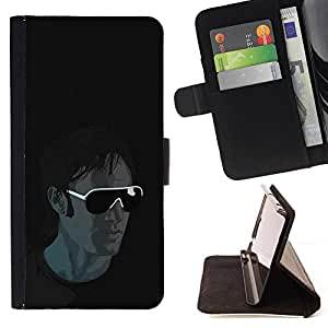 DEVIL CASE - FOR Apple Iphone 5 / 5S - Cool Sunglasses Guy - Style PU Leather Case Wallet Flip Stand Flap Closure Cover