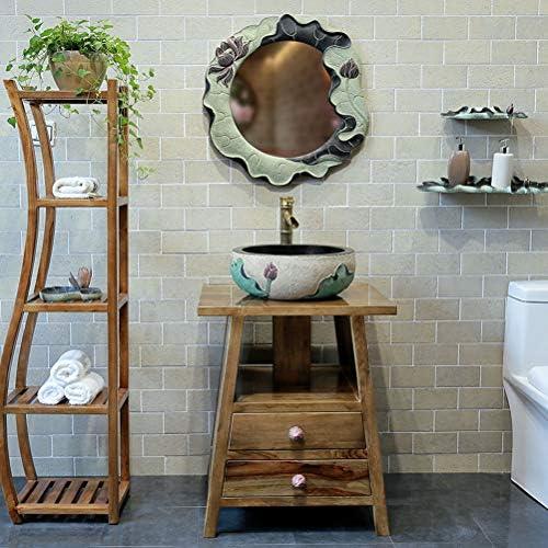洗面現代シンプルなラウンドアートトイレバスルームシンクの盆地ロータス上記カウンター盆地(40x15cm) P3/18