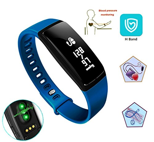V07 Waterproof smart bracelet heart rate monitor message reminder wristband sleeping pedometer sports tracker blood pressure monitor bluetooth 4.0 health monitoring armband smart watch. (blue) (Mms Sleep System)