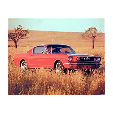 Vintage Car Wall Decor 1965 Red Ford Mustang Fastback Art Print Poster (16x20)