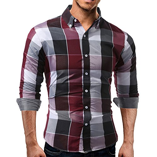 (KASAAS Shirts for Men Plaid Button Down V-Neck Tartan Long Sleeve Fastener Slim Fit Casual Tops Blouse Red)