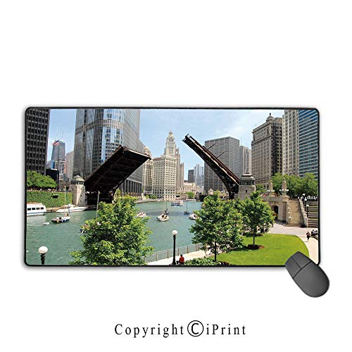 Extended Gaming Mouse pad with Stitched Edges,United States,Downtown Chicago Illinois Finance Business Center Lake Michigan Avenue Bridge,Multicolor, Suitable for Offices and Homes,9.8