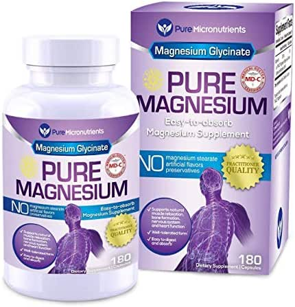 Pure Micronutrients Magnesium Glycinate Supplement (Chelated) 200mg, 180 Count