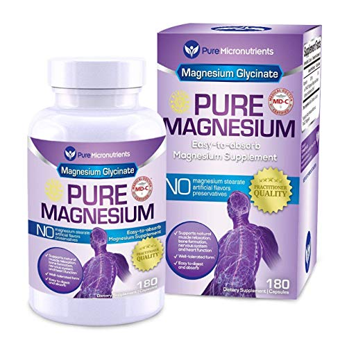 Pure Micronutrients Magnesium Glycinate Supplement (Chelated) 200mg, 180 Count (Best Magnesium For Depression)