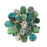 AeraVida Green Blossoming Lotus Green Quartz Floral Pin or Brooch