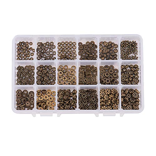 PH PandaHall 540pcs 18 Styles Antique Bronze Tibetan Alloy Spacer Beads Gear Bicone Flower Metal Spacers for Bracelet Necklace Jewelry Making Accessories