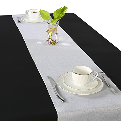 - SUO AI TEXTILE Filigree Faux Linen Table Runner Waterproof Table Runner Starry Table Runners Wedding Decorative 12x108 inch White