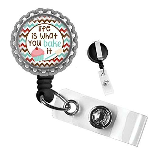 Baking Life is What You Bake It Silver Retractable ID Tag Badge Reel by Geek Badges -