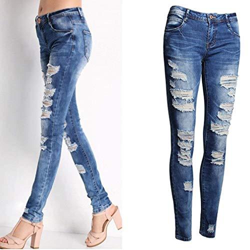Jeans Vita Straight Caviglia Blau Grazioso A Cher Lunghi Pantaloni Skinny Stretch Boy Bassa Buche Strappati 1Aq1wxr